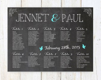 Wedding Seating Chart - Chalkboard Seating Chart - DIGITAL file