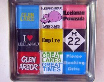 GLEN ARBOR, Glen Lake, Sleeping Bear, Empire, M22, Michigan, Manitou, Up North Michigan, Fridge Magnets, Refrigerator Magnets, Michigan