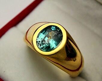 AAAA Blue Zircon   9x7mm  3.05 Carats   in  Heavy 18K Yellow gold MAN'S ring 20 grams. 2515