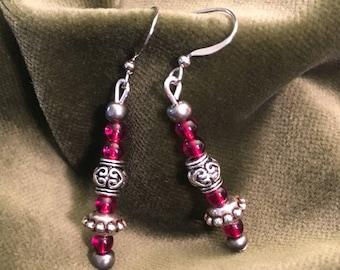 Garnet & Silver Earrings