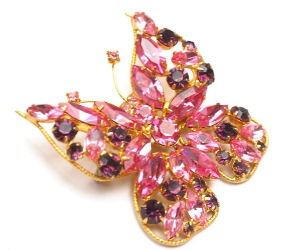 Butterfly Brooch - Rhinestone - Pink Purple  crystal - Juliana D&E - Gold metal -  flying insect Pin