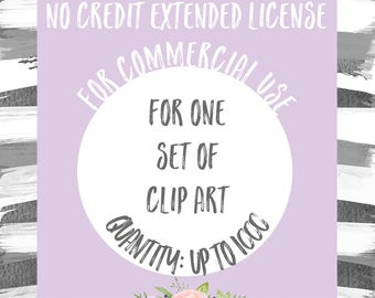 Extended License for Commercial Use of One Clipart Set - Quantity of Up to 1000, Commercial Use of Clip Art Sets