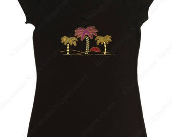 "Women's Rhinestud T-Shirt "" Palm Trees and Sunset "" in S, M, L, 1x, 2x, 3x"