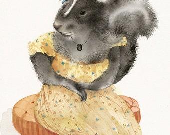 "Skunk art- Skunk Watercolor print - ""Stinky Mae"" animal art-  nursery art, yellow"