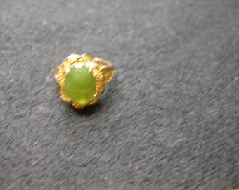 Gold Filled (faux)Jade Ring(736)