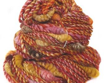 Art Yarn handspun handdyed Merino wool and silk with coils