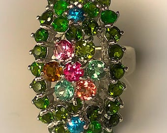 Exceptional Tourmaline Topaz Sterling Silver Ring Size 9