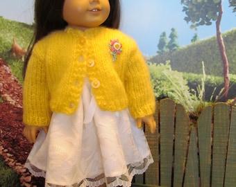 18''Doll Sweater , Yellow Mohair Sweater, Pretty Sweater, Soft Sweater, Spring Wear, Everyday Wear,Fuzzy Sweater,Casual Wear,Dress -up Wear