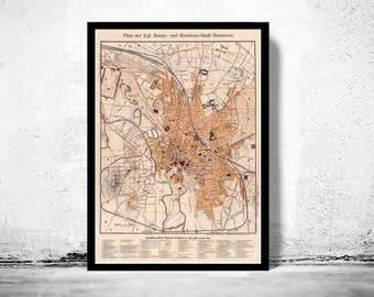 Old Map of Hanover Germany 1890 Hannover