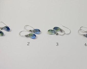 Swarovski Crystal Earrings, Teardrop Swarovski Provence Lavender Chrysolite Blend Crystal Earrings, Purple and Green Crystal Blend