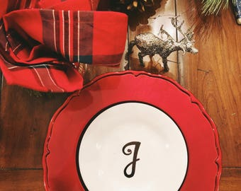 Customizable Appetizer Plates with Initial