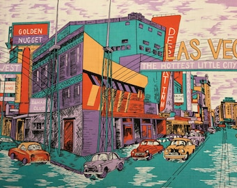 "70s ""The Hottest Little City in the West""//OLD LAS Vegas Border Print//Pink Flamingo/Golden Nugget/Cactus Club/Stardust Lounge/Purple Clouds"