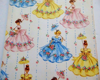 Vintage Wrapping Paper, Vintage Belles Gift Wrap, Roses Flowers, One sheet 19X25 inches, Scrapbook Craft paper, Floral