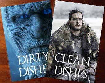 Winter is coming Jon Snow   Game of Thrones Reversible Dishwasher Magnet   Geek Kitchen   Clean Dirty Magnet   Game of Thrones
