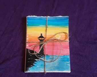 Watercolor Sunsets with Lighthouse Silhouettes Set of 4 Blank Inside Cards | Hand Drawn Just Because 4x6inch Cards | Hand Painted Seascapes