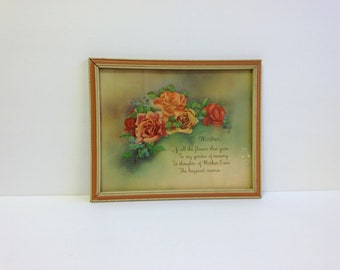 Vintage Framed Mother Poem ~ 1930s Mother Print ~ Roses ~ Red Coral Cream