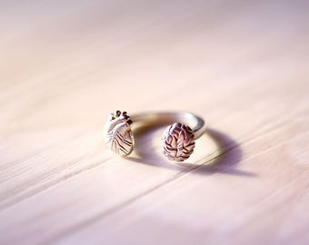 Sterling Silver Anatomical Heart & Anatomical Brain Ring, Sterling Silver Heart Ring, Sterling Silver Brain Ring