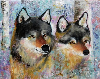 Life Companion, wolves, nature, animal, animal lover, trees, dogs, prints, blue, mixed media, painting, texture, winter, portrait,