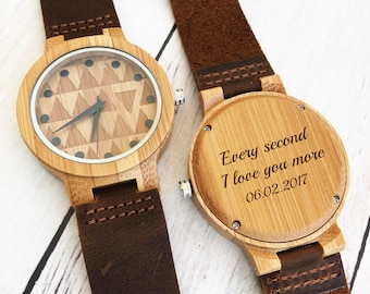 Mens Gift Fathers Day Gift For Men Wooden Watch Personalized Wood Watches for Men Leather Watch Wood Watch Engraved Wood Watch Gift for Him