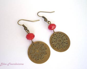 Red bead and bronze earrings