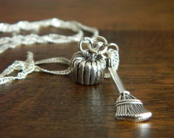 Pumpkin Necklace - Witches Broomstick - Cinderella - Halloween Wicca Witch Wiccan Goth Gothic Silver Plated Fairytale Fantasy Charm Party