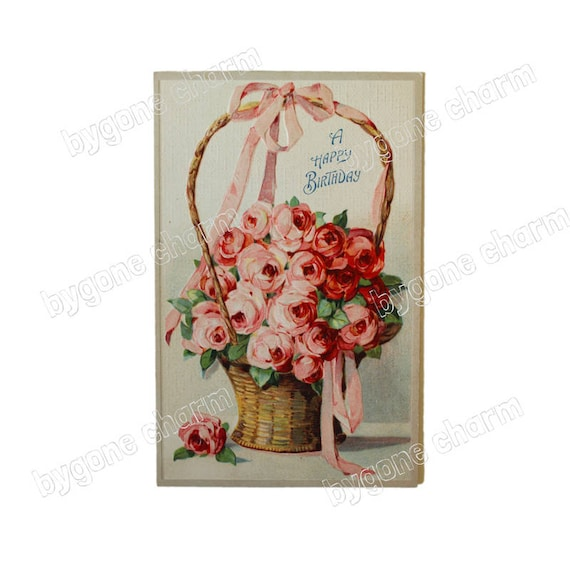 Shabby Chic Pink Roses Flower Basket Antique Happy Birthday DIY Clip Art Printable Digital Download From BygoneCharm On Etsy Studio