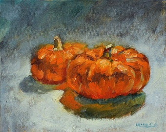 Two Pumpkins #2, original, oil, canvas, 8 x 10, cute little pumpkins, autumn, fall decoration, seasonal art, mini oil painting, thanksgiving