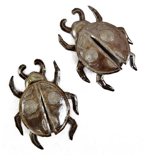 "Ladybugs Garden Collection Handmade in Haiti (Set of 2) 5.5"" x 5"""