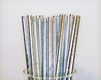 Silver Foil Paper Straws, Silver Wedding Straws, Bachelorette Party Straws, Baby Shower Straws, Bridal Shower Straws, Party Straws