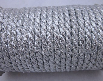 3 Metres 5mm Metallic Silver Lacing Cord