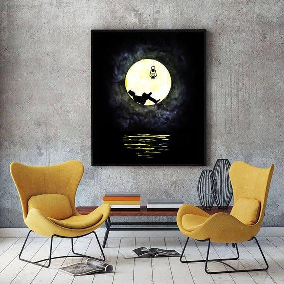 The lunatic | Man in the moon poster | Dark  Wall art | Watercolor| Paper poster art | Archival print | Original artwork | Lightbulb