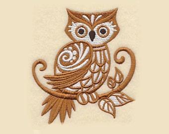 Brown Owl Tea Towel   Personalized Kitchen   Embroidered Kitchen Towel   Embroidered Towel   Embroidered Tea Towel   Owl Gift   Hand Towel
