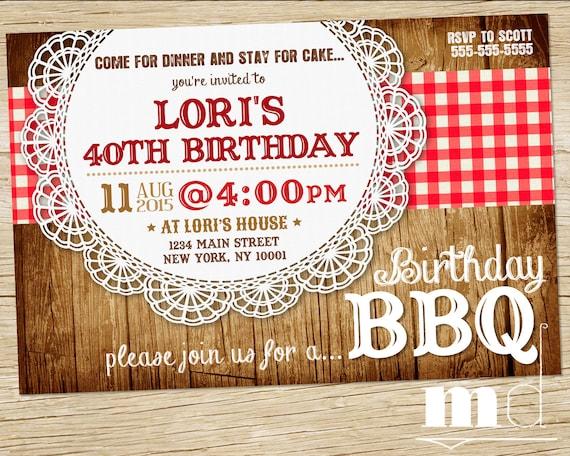 Bbq Birthday Invite Barbecue Birthday Invitation Picnic