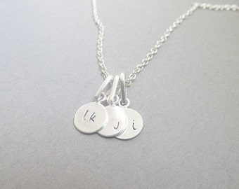 Silver Tag Custom Monogram Initials Necklace Mother's Day, gifts for her, silver,