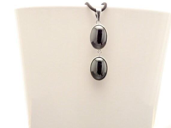 NATURAL Hematite Pendant, Sterling Silver 925 NOT-DYED Hematite Gemstone Minimalist Pendant Real Dark Gray Hematite Stone Modern Jewelry