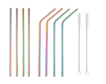 Stainless Steel Drinking Straws Reusable Stainless Steel Straws-Metal Straws Tumblers Rumblers Cold Beverage Rainbow Multi-Colored Straw