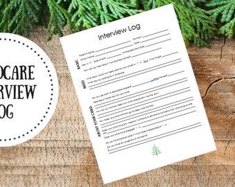 Editable | Childcare Interview Log - Babysitter Form - Daycare Form - Childcare Planner