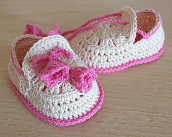 PDF file CROCHET Pattern - Baby Shoes Summer Bells  ( 0-6 /6- 12 months)