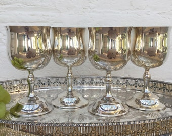 Pair of Renown A1 quality silverplated goblets Two pairs available Vintage silverware