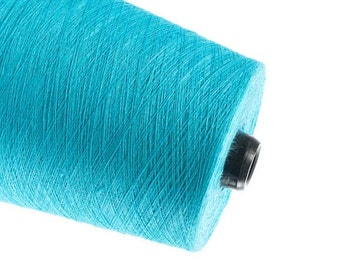 Turquoise natural yarn, crochet weaving yarn, 1ply 2ply 3ply