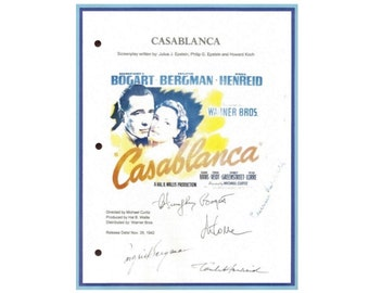 Casablanca Entire Movie Script Signed Screenplay Humphrey Bogart, Ingrid Bergman, Paul Henreid, Claude Rains, Peter Lorre