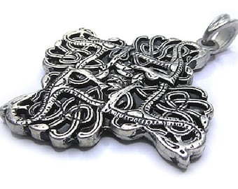 Snakes of the urn charm necklace pendant silver plated on request with ribbon pendant German jewelry Medallion