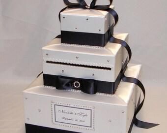 White and Black Wedding Card Box- Rhinestone accents