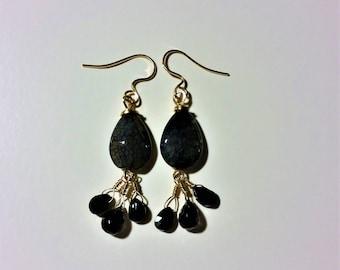 Black Agate Earrings Agate Pearl Earrings  Black Agate Black Spinel Earrings Gold Earrings Iolite Earrings