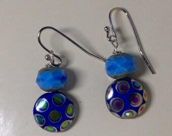 Blue Glass Beads, Glass Earrings, Jewelry, Sunset Designs, Faceted Glass Earrings, Silver, Silver Earrings, Birthday Gift, Beaded Earrings