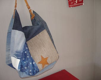 large tote bag in denim with small handle