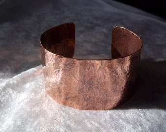 Vintage Wide Copper Cuff Bracelet, Hammered Copper Bracelet, Solid Copper Bracelet, Textured Cuff Bangle, Boho Style Bracelet