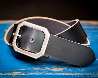 "Custom sized belt - 1.5"" width - Horween Chromexcel leather - center bar buckle - black"