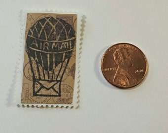 Airmail Balloon  Relief-Printed Artistamp/faux postage stamp