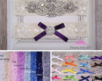 wedding garter, Bridal Garter Set, lace garter, Something Blue Wedding Garter set, Plus Size Garter, Something Blue Garter, navy, WG24